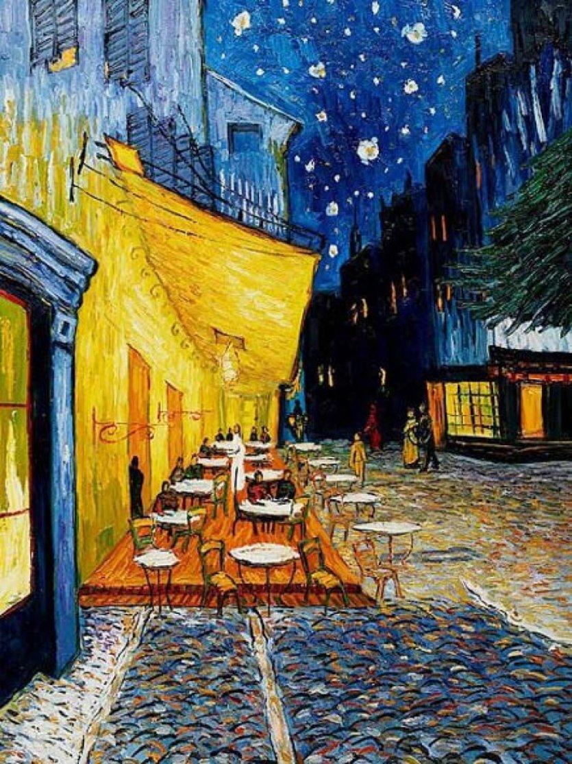 cafe terrace at night nerede ile ilgili görsel sonucu